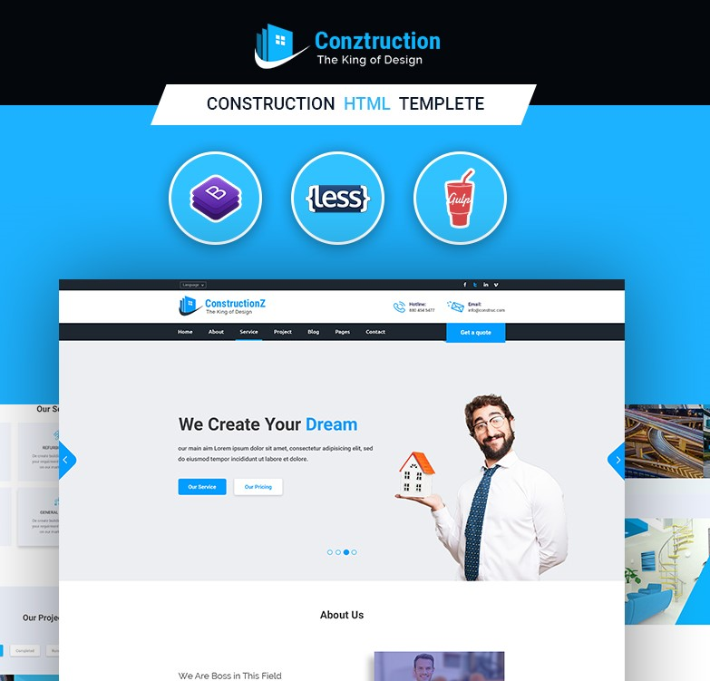 Conztruction - Construction HTML Template - 12 Html Pages